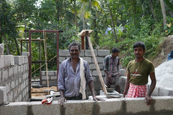 India locals working on house