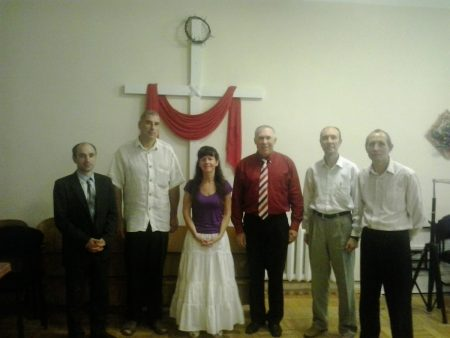 Lisa with elders at her church in Odessa