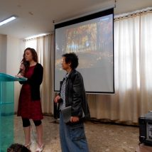 A short-termer sharing her testimony while at church in Colombia